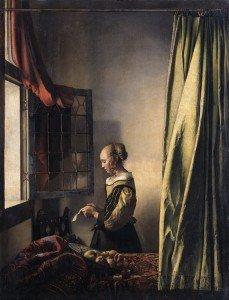 Vermeer liseuse à sa fenêtre 1658 coll nationales de Dresde